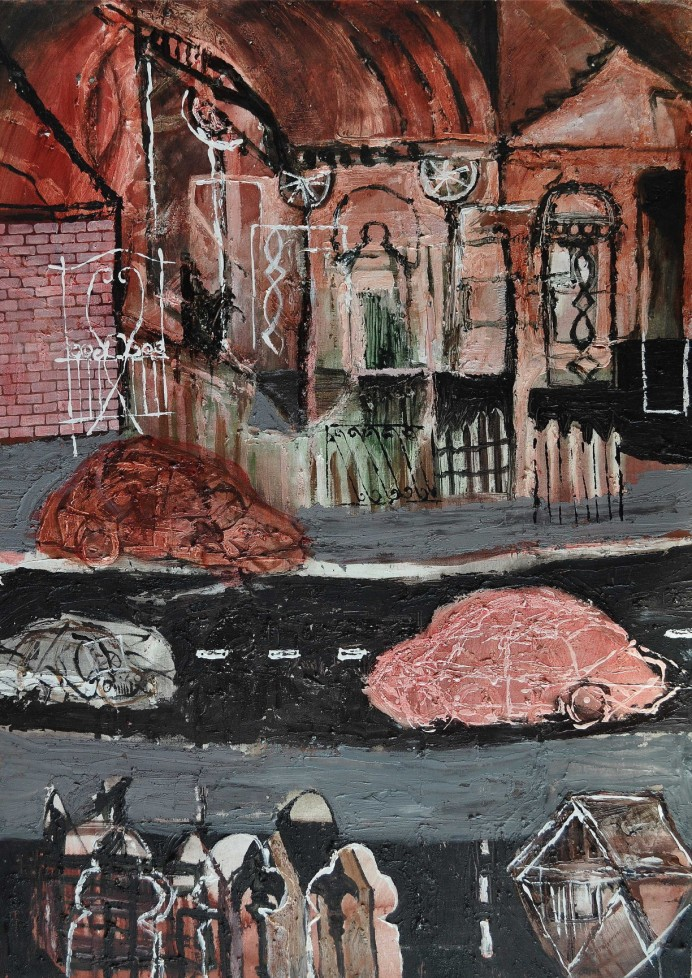 """Still Life Still Death"" 1994 acrylic on canvas 110 x 90 cm"