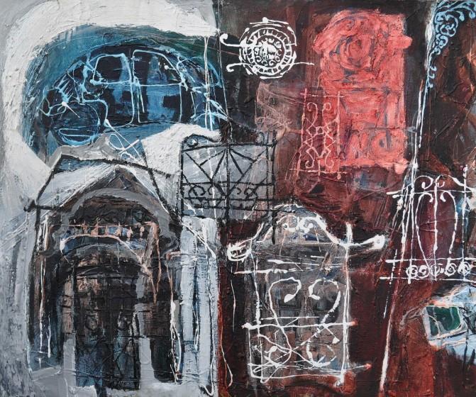 """Street Places"" 1994 acrylic on canvas 60 x 80 cm"