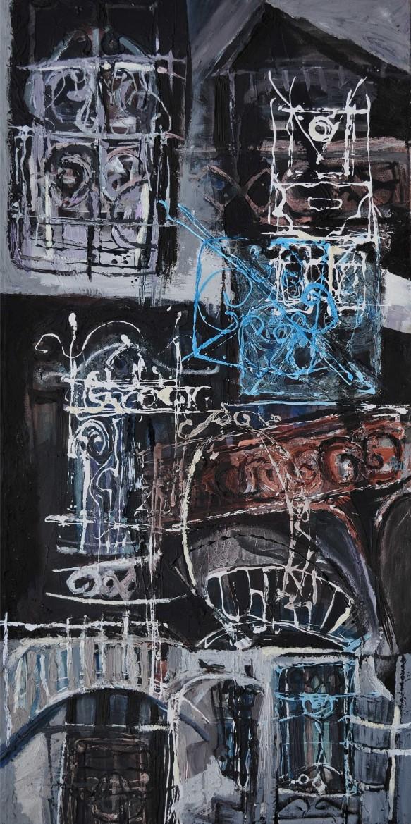 """""""Suburban Dreams"""" 1994 acrylic on canvas 160 x 100 cm"""