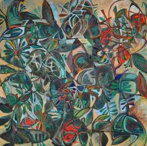 """Summer Garden"" 1991 oil on canvas 150 x 150 cm"