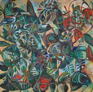 """Summer Garden"" 1991 oil on canvas 150 x 150 cm"