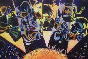 """""""Sunrise"""" 1991 acrylic on canvas 45 x 60 cm"""