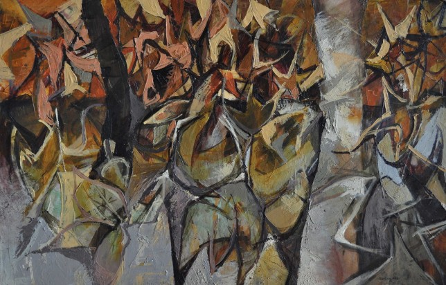 """The Leaves"" 1993 acrylic on canvas 90 x 110 cm"
