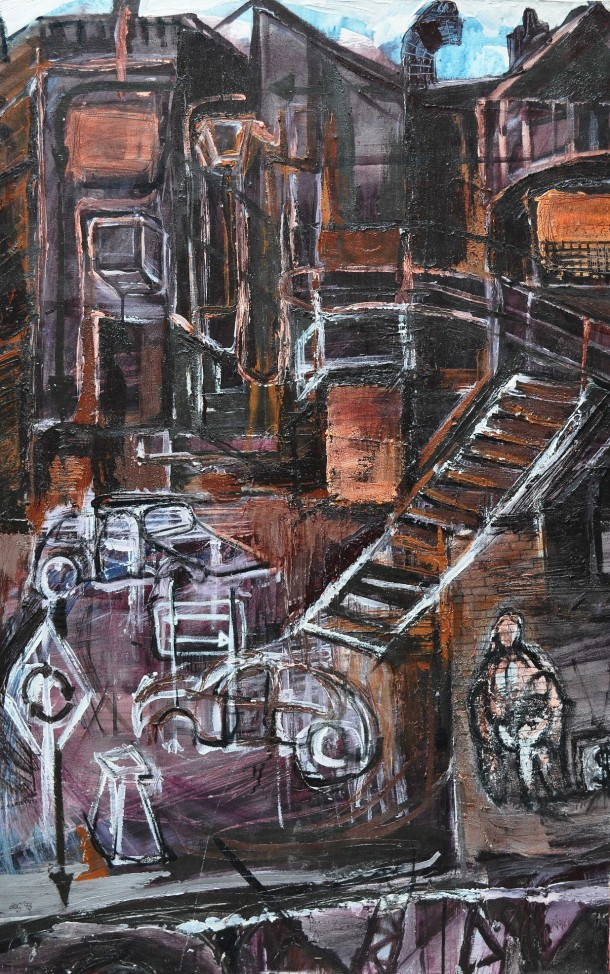 """""""Troubled Back Alley"""" 1993 acrylic on canvas 110 x 80 cm"""