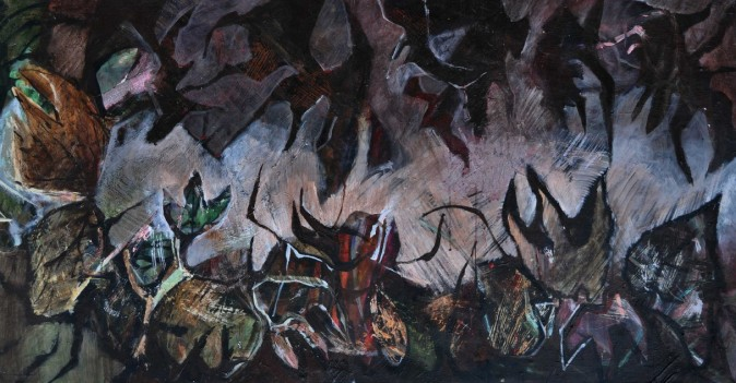 """""""War of the Weeds"""" 1993 acrylic on canvas 80 x 130 cm"""