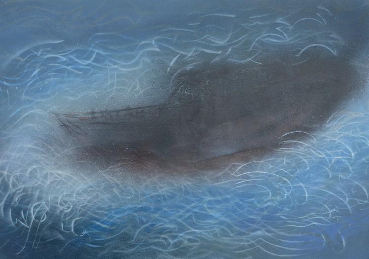 """""""Boat"""" 201440 x 60 cm enamel on paper"""