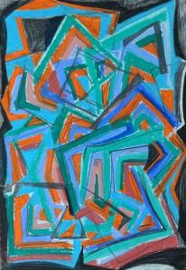 """""""Construction 2"""" 1988 oil pastel on paper 50 x 40 cm"""