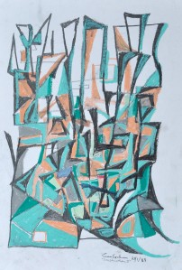 """Construction 3"" 1988 oil pastel on paper 40 x 30 cm"