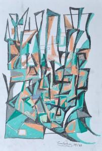 """""""Construction 3"""" 1988 oil pastel on paper 40 x 30 cm"""