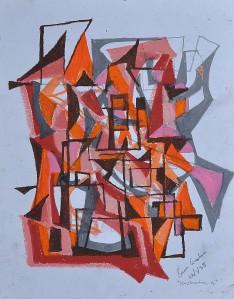"""""""Construction 4"""" 1988 oil pastel on paper 40 x 30 cm"""