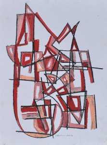 """""""Construction 5"""" 1988 oil pastel on paper 40 x 30 cm"""