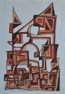 """""""Building"""" 1988 oil pastel on paper 40 x 30 cm"""