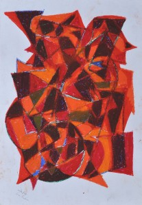 """Construction 7"" 1988 oil pastel on paper 50 x 40 m"