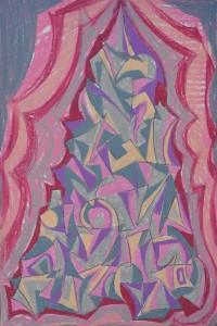 """""""Construction 8"""" 1988 oil pastel on paper 50 x 40 cm"""