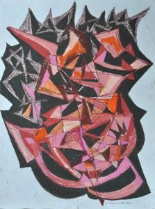 """""""Construction 9"""" 1988 oil pastel on paper 50 x 40 cm"""