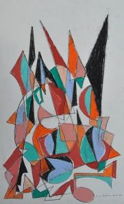 """""""Construction 9"""" oil pastel on paper 50 x 40 cm"""