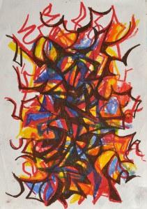 """Fire dance 2"" 1988 oil pastel on paper 30 x 20 cm"