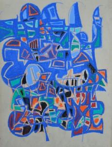 """""""Construction 10"""" oil pastel on paper 60 x 50 cm"""
