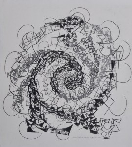 """""""Eye of the Storm"""" 1988 pencil on paper 50 x 50 cm"""