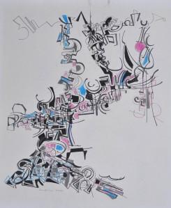"""""""Conversation"""" 1988 pencil on paper 40 x 35 cm"""