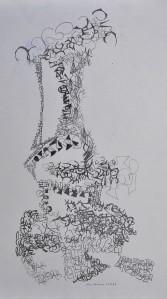 """""""Jeanie in a bottle"""" 1988 pencil on paper 45 x 35 cm"""