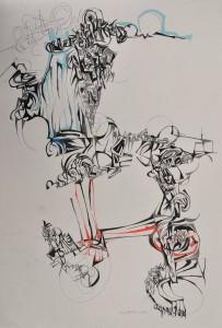 """Tiger"" 1988 pencil on paper 60 x 40 cm"