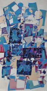 """""""Blue Glass"""" 1990 Acrylic on canvas 90 x 60 cm"""