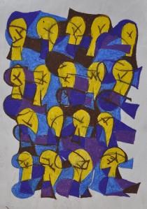 """Light Bulbs"" 1987 oil pastel on paper 40 x 30 cm"
