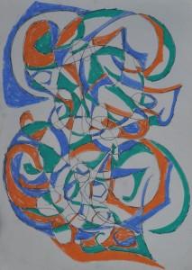 """""""Design"""" 1987 oil pastel on paper 50 x 40 cm"""