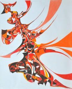 """""""Flight of Fancy"""" 1990 pastel on paper 70 x 60 cm"""