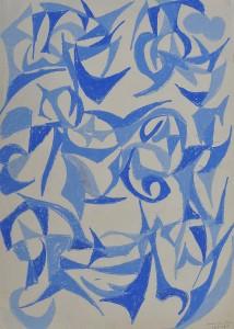 """Blue Leaves Falling"" 1987 oil pastel on paper 50 x 40 cm"