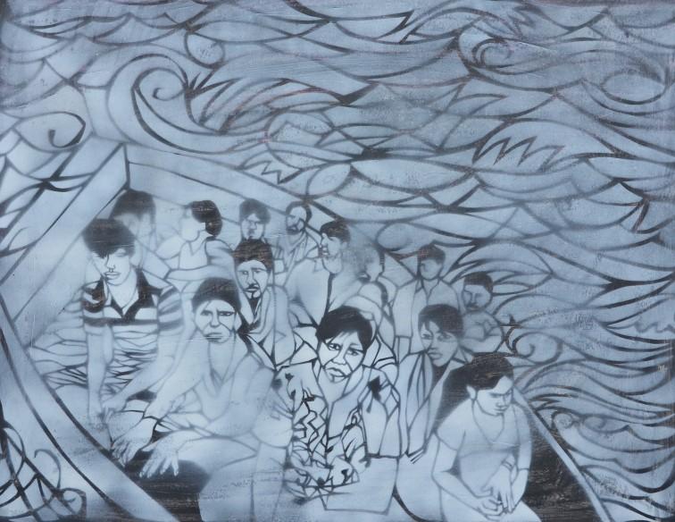 """Adrift"" 2014 Acrylic and spray enamel on paper 50 x 60 cm"
