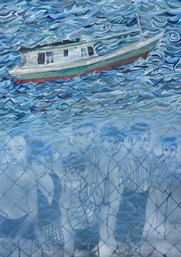 """""""Lost at sea"""" 2014 84 x 60 cm Gouache on paper"""