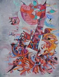 """""""Instrument"""" 1990 Mixed media 80 x 70 cm"""