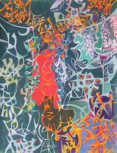 """Organism"" 1991 pastel on paper 100 x 80 cm"