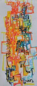 """Summer Rain"" 1989 pastel on paper 100 x 50 cm"