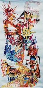 """The Journey"" 1989 pastel on paper 150 x 80 cm"