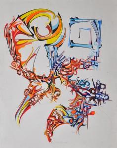 """Wind Shear"" 1989 pastel on paper 80 x 65 cm"